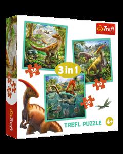 Trefl 34837 World of Dinosaurs 3 in 1 Box Puzzle