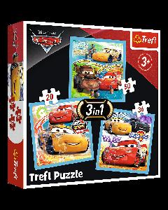 Trefl 34848 Cars 3, 3 in 1 Box puzzle