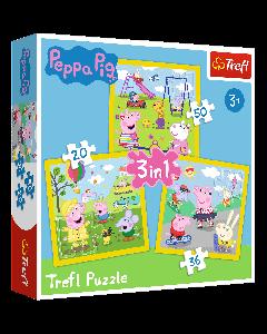 Trefl 34849 Peppa Pig 3 in 1 box puzzles