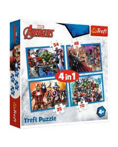 Trefl 34310 Avengers 4 in 1 Box Puzzles