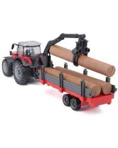 Burago B18-31659 Massy Tractor & Log Trailor