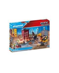 Playmobil 70443 Construction Mini Excavator with Building Section