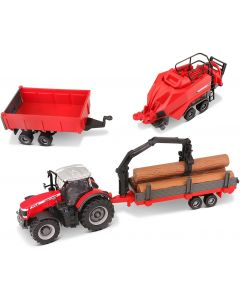Bburago B18-31668 10 cm Massey Ferguson 8740S Farm Tractor with 3 Trailers