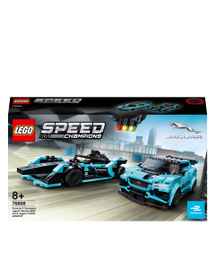 LEGO 76898 Speed Champions Formula E Panasonic Jaguar Racing GEN2 car & Jaguar I-PACE eTROPHY Race Cars Set