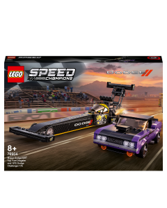LEGO 76904 Speed Champions Mopar Dodge//SRT Top Fuel Dragster & 1970 Dodge Challenger T/A Muscle Car Toy Building Set for Kids 8+ Years Old