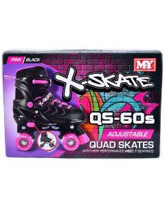 Quad Skates TY6016 Blue size UK 2-5 Adjustable Quad Roller Skates Black & Pink