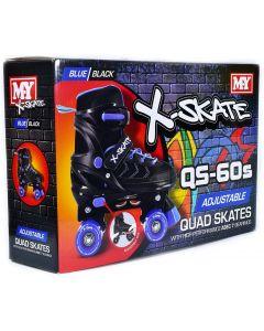 Quad Skates TY6004 Blue size UK2-5 Adjustable Quad Roller Skates Black & Blue