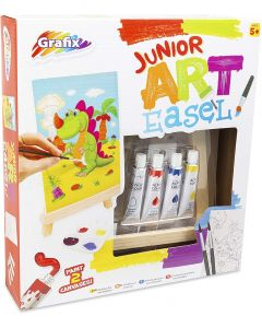 Junior Art Easel Paint Pack - Wood Easel, Acrylic Paints, Mixing Tray, Brushes, Printed Canvas Large and Small