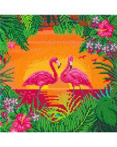 "Craft Buddy ""Fancy Flamingoes"" Framed Crystal Art Kit 30 x 30cm (Medium)"